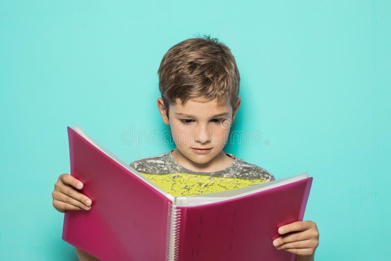 Bambino che esamina un taccuino di compito immagini stock libere da diritti