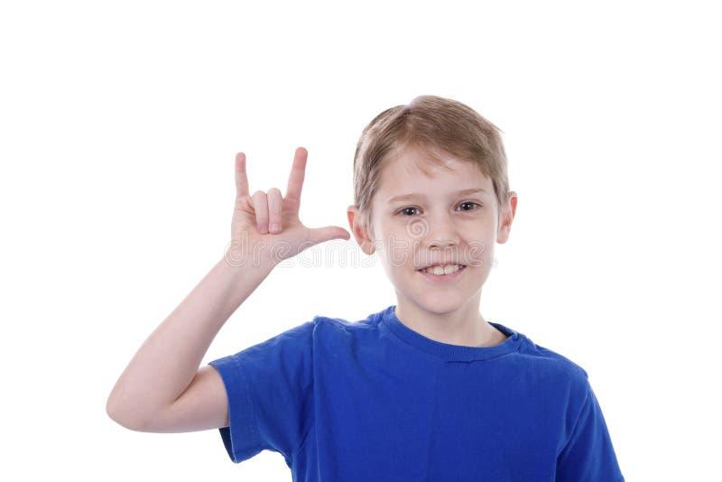 Bambino che firma ti amo fotografia stock libera da diritti