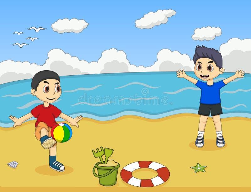 Bambino che gioca palla sull'illustrazione di vettore del fumetto della spiaggia royalty illustrazione gratis