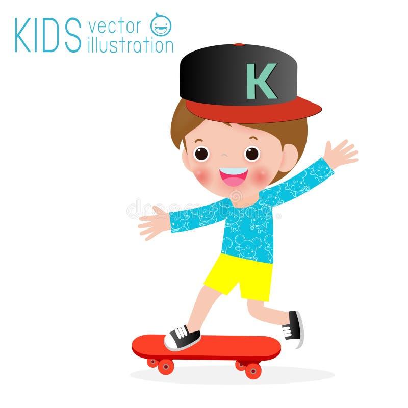 Bambino che gioca skateboarding sull'isolato su su fondo, sui bambini e sull'illustrazione bianchi di vettore di sport illustrazione vettoriale