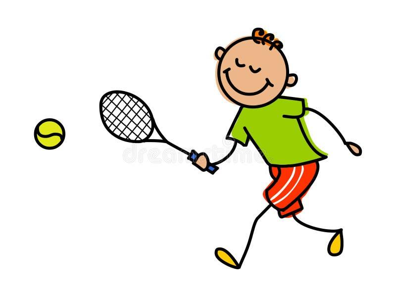 Bambino che gioca tennis Illustrazione di vettore del bambino del fumetto royalty illustrazione gratis