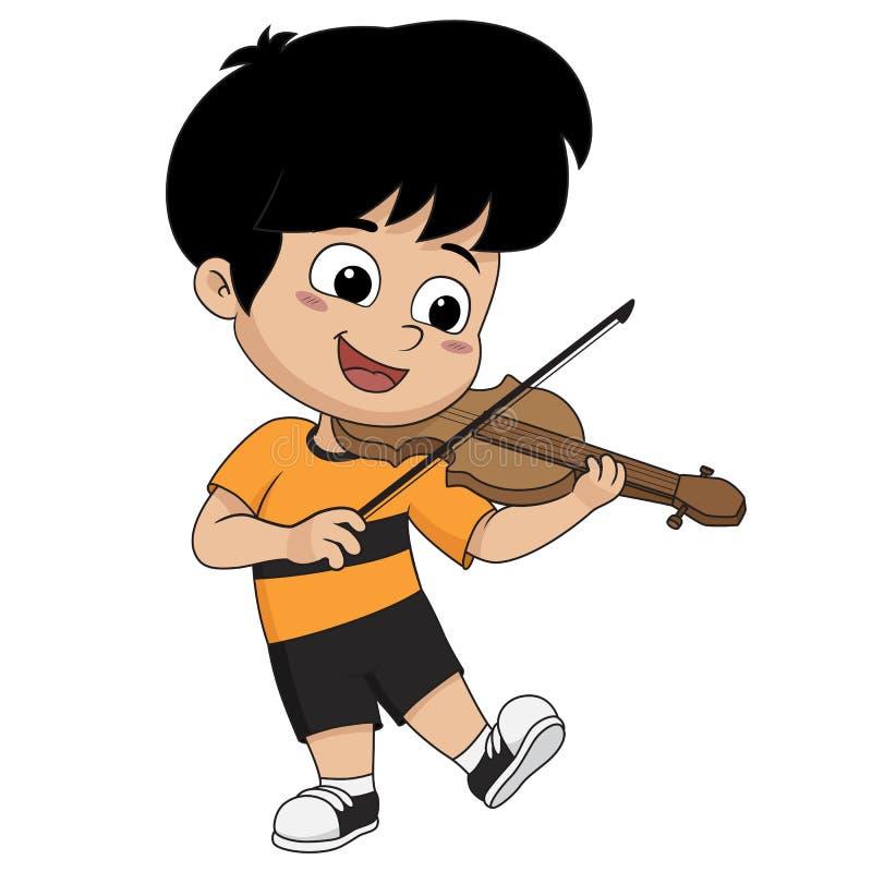Bambino che gioca violino Vettore ed illustrazione illustrazione di stock