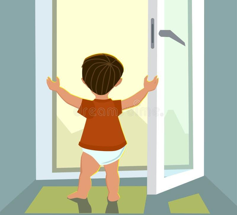 Bambino che si aggira sulla maniglia della finestra Concetto di bambino in pericolo fotografia stock