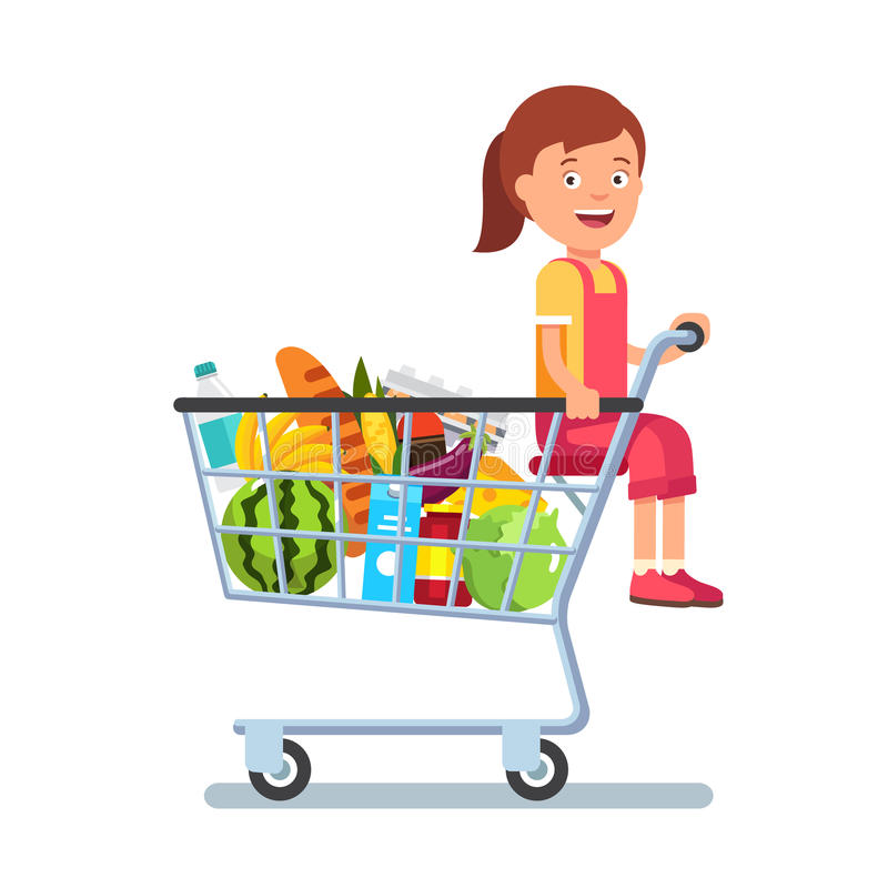Bambino che si siede in un carrello del supermercato royalty illustrazione gratis