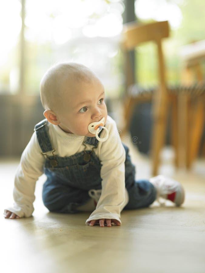 Bambino che striscia sul pavimento immagini stock