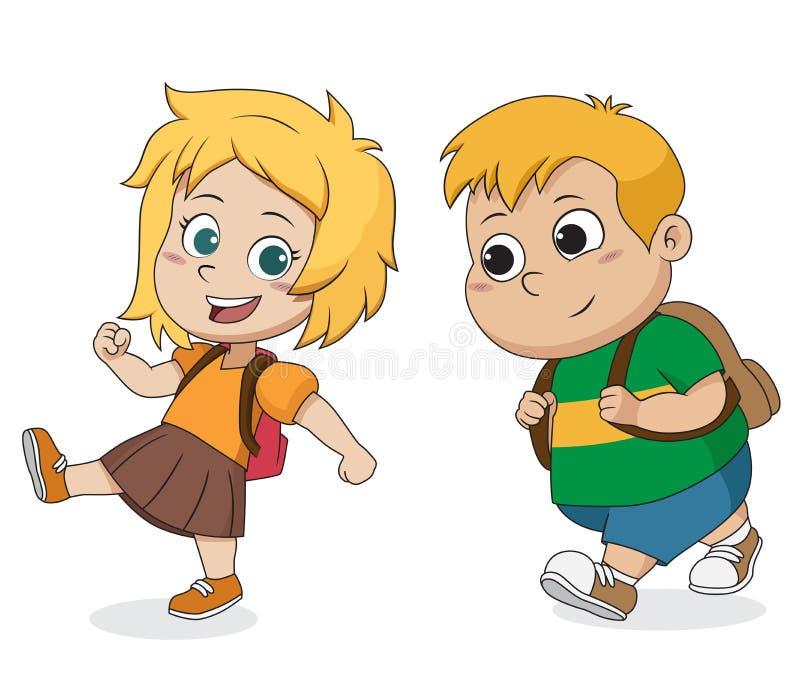 Bambino che sveglia alla scuola Di nuovo al banco royalty illustrazione gratis
