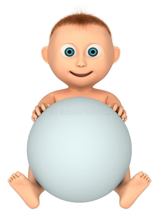 Download Bambino Che Tiene Sfera Bianca Illustrazione di Stock - Immagine: 23441894