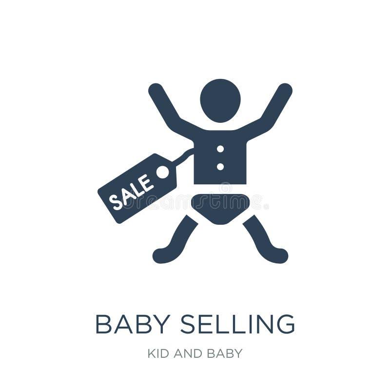 bambino che vende icona nello stile d'avanguardia di progettazione bambino che vende icona isolata su fondo bianco bambino che ve illustrazione vettoriale
