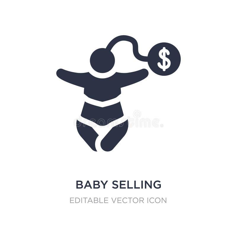 bambino che vende icona su fondo bianco Illustrazione semplice dell'elemento dal concetto del bambino e del bambino illustrazione vettoriale