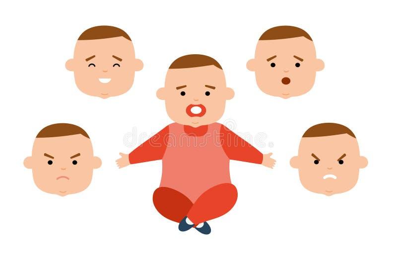 Bambino con differenti espressioni facciali Gioia, tristezza, rabbia, sorpresa, irritazione royalty illustrazione gratis