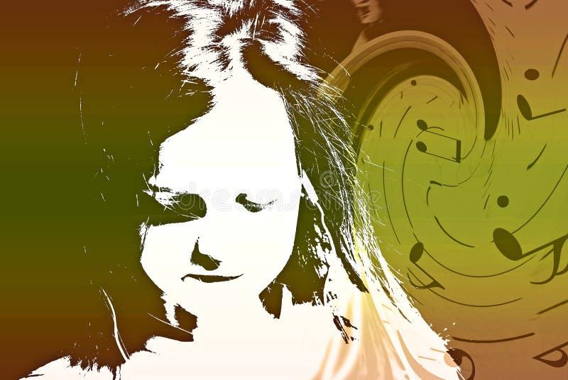 Bambino con il collage di turbine di musica illustrazione vettoriale