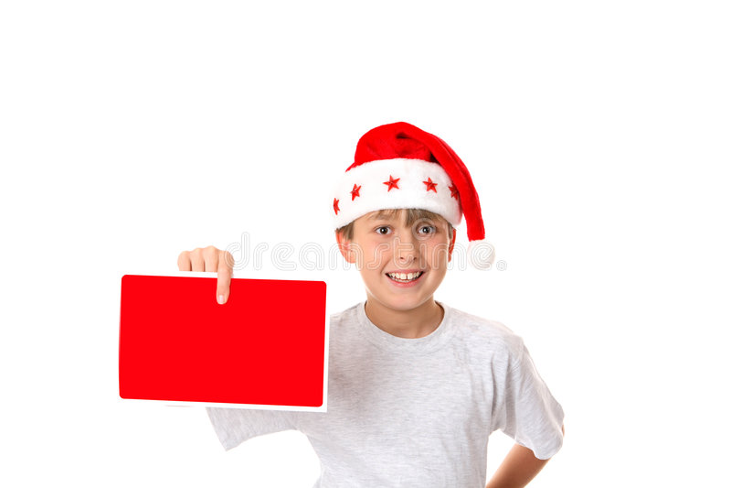 Bambino con il messaggio di natale immagini stock