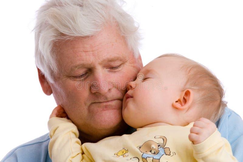 Bambino con il nonno fotografia stock