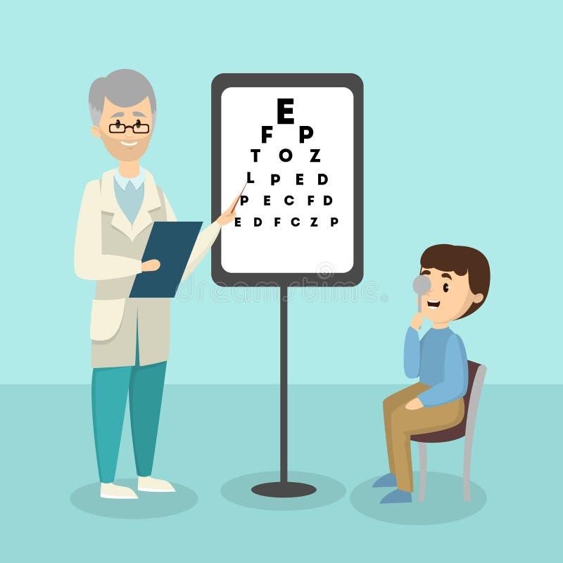 Bambino con l'oftalmologo illustrazione vettoriale