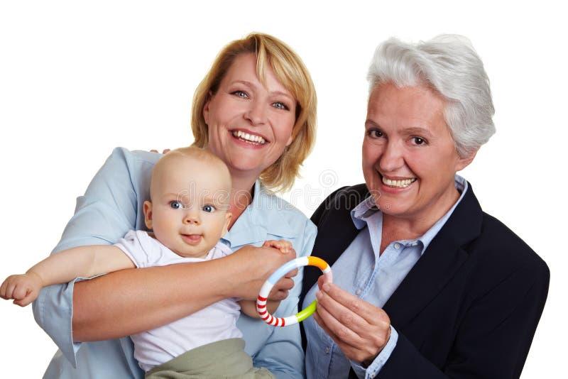 Bambino con la madre e la nonna fotografie stock libere da diritti