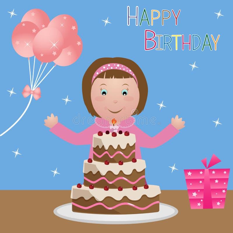 Bambino con la torta di compleanno - ragazza illustrazione vettoriale