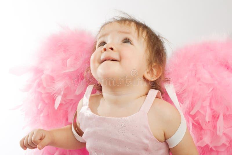 Bambino con le ali dentellare fotografia stock libera da diritti