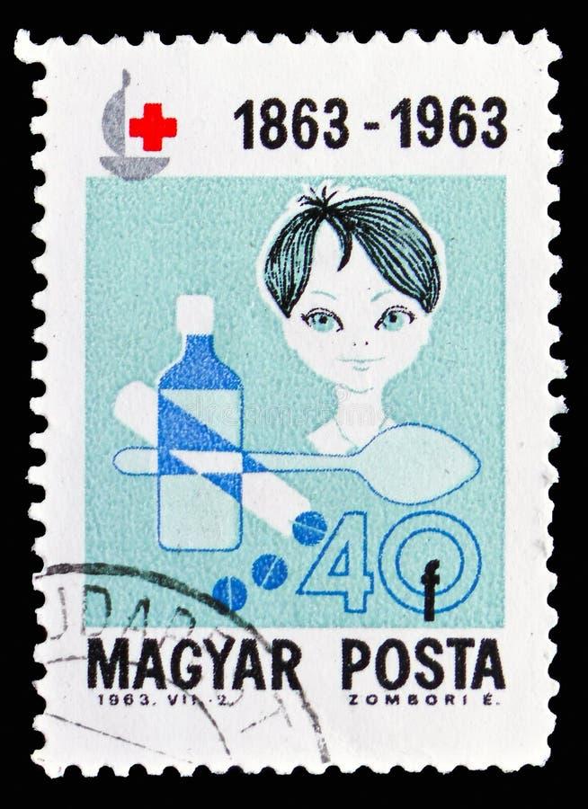 Bambino con le medicine, serie della croce rossa, circa 1963 illustrazione di stock