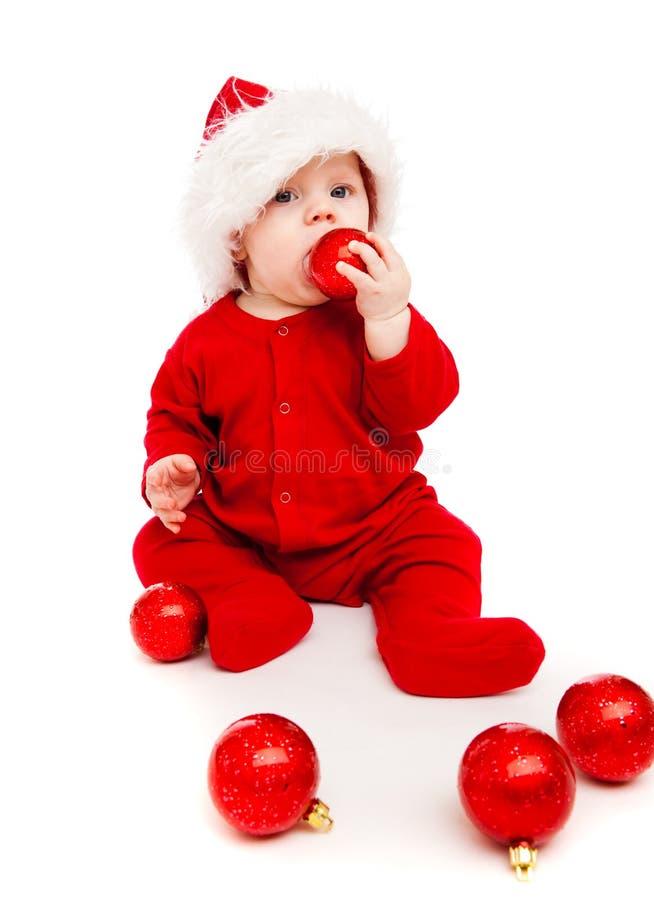 Bambino con le sfere di natale immagini stock libere da diritti