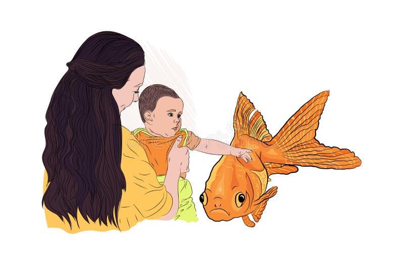 bambino con un pesce dell'oro desireconcept di desiderio illustrazione vettoriale
