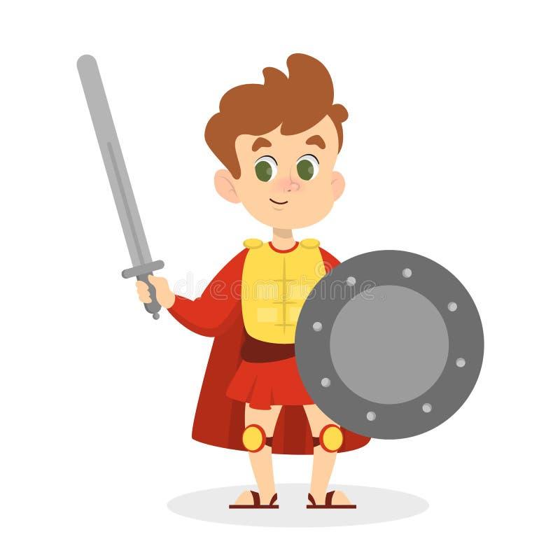 Bambino in costume medievale con lanciato e spada royalty illustrazione gratis
