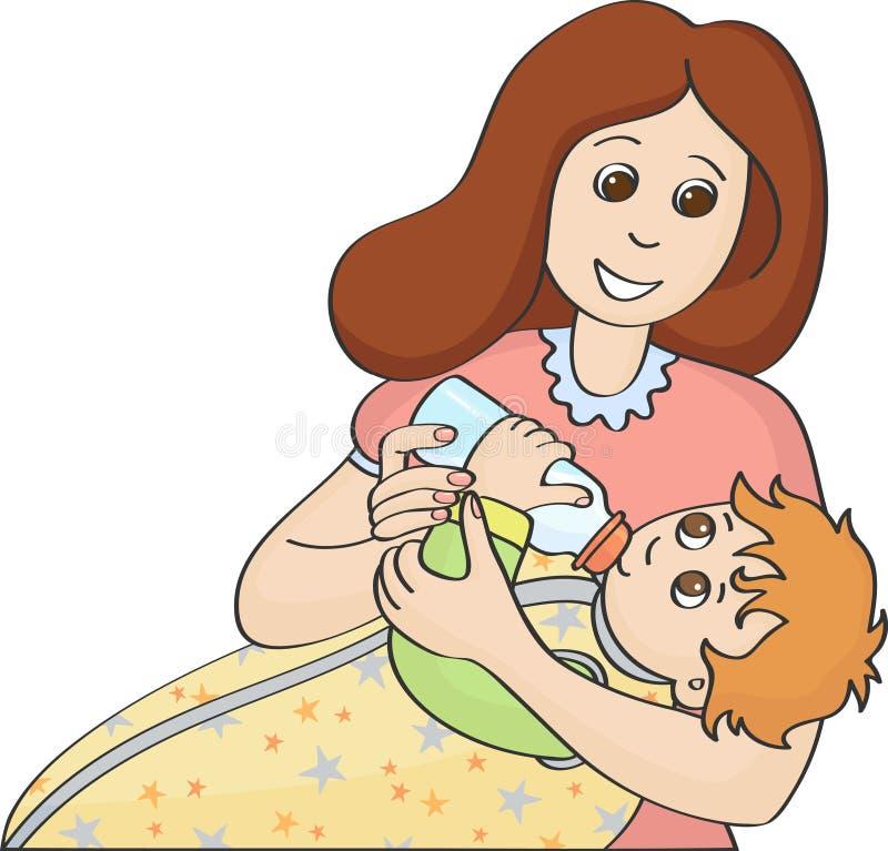 Bambino d'alimentazione della madre con la bottiglia illustrazione di stock