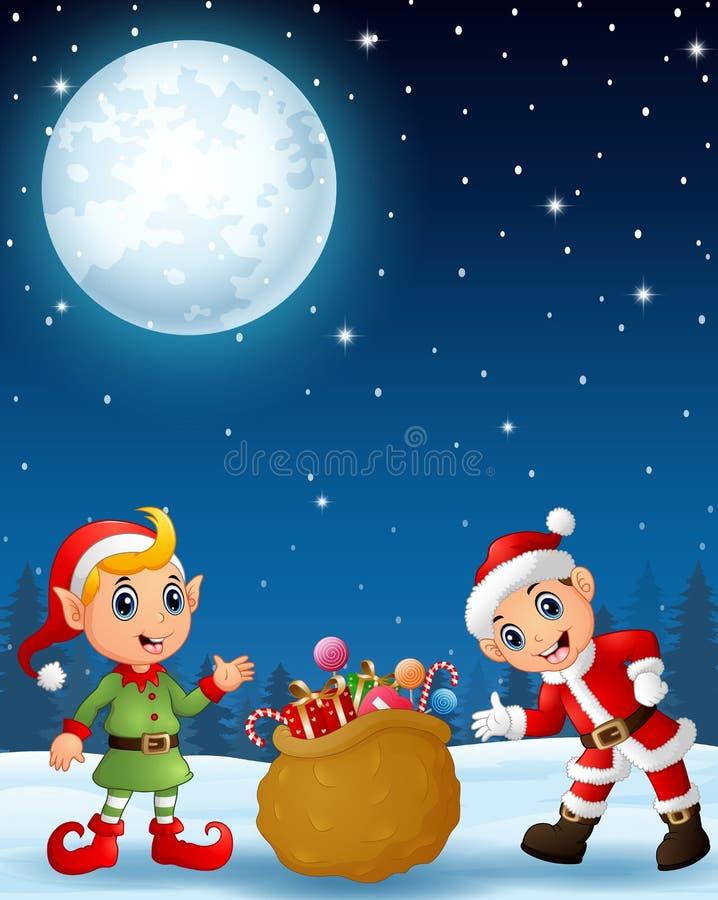 Bambino del Babbo Natale con il presente dell'elfo del fumetto un sacco in pieno dei regali nei precedenti di notte di inverno illustrazione di stock