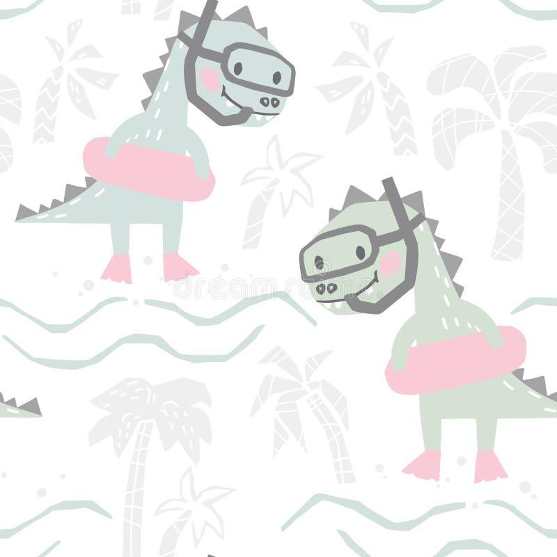 Bambino del dinosauro con il modello senza cuciture sveglio dell'anello di gomma Immergersi andante dolce di Dino sulla stampa de illustrazione vettoriale