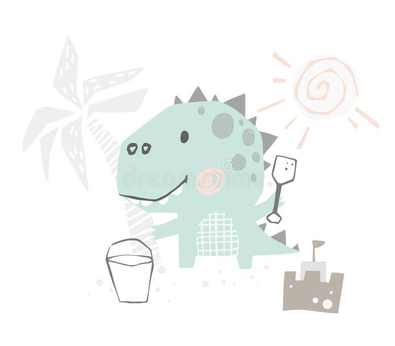 Bambino del dinosauro sveglio con la stampa della spatola Dino dolce costruisce un castello della sabbia sulla spiaggia Estate illustrazione di stock