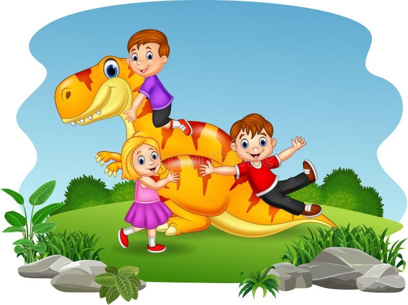 Bambino del fumetto che gioca sul dinosauro royalty illustrazione gratis