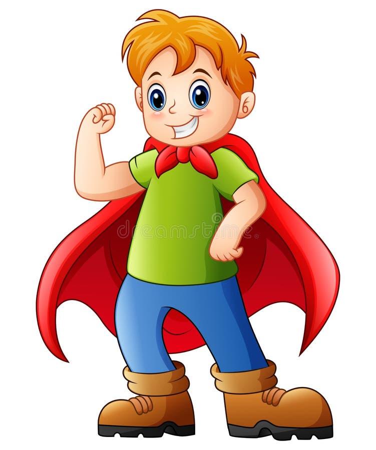 Bambino del fumetto che gioca un supereroe illustrazione vettoriale