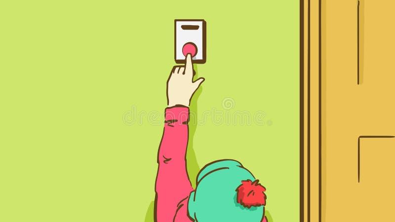 Bambino del fumetto in un cappello con il bonbon che spinge un bottone del campanello illustrazione di stock