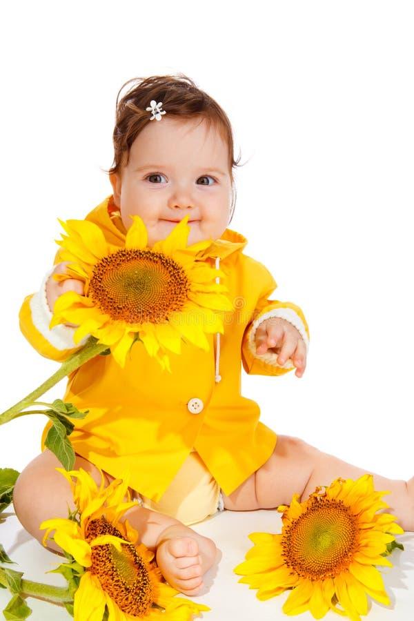 Bambino del girasole immagini stock libere da diritti