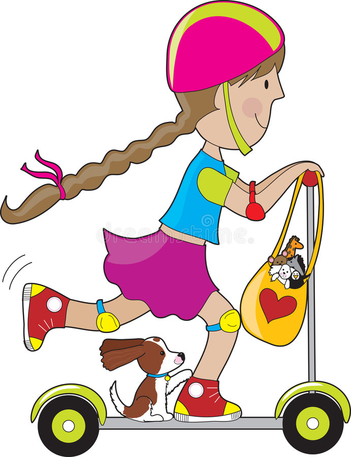 Bambino del motorino illustrazione vettoriale