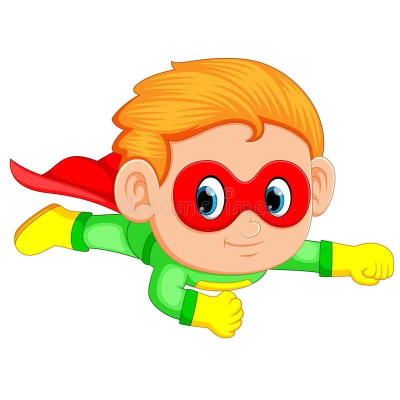 Bambino del ragazzo del supereroe che vola verso l'alto illustrazione di stock