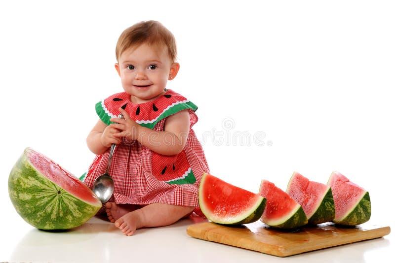 Bambino dell'anguria fotografia stock libera da diritti