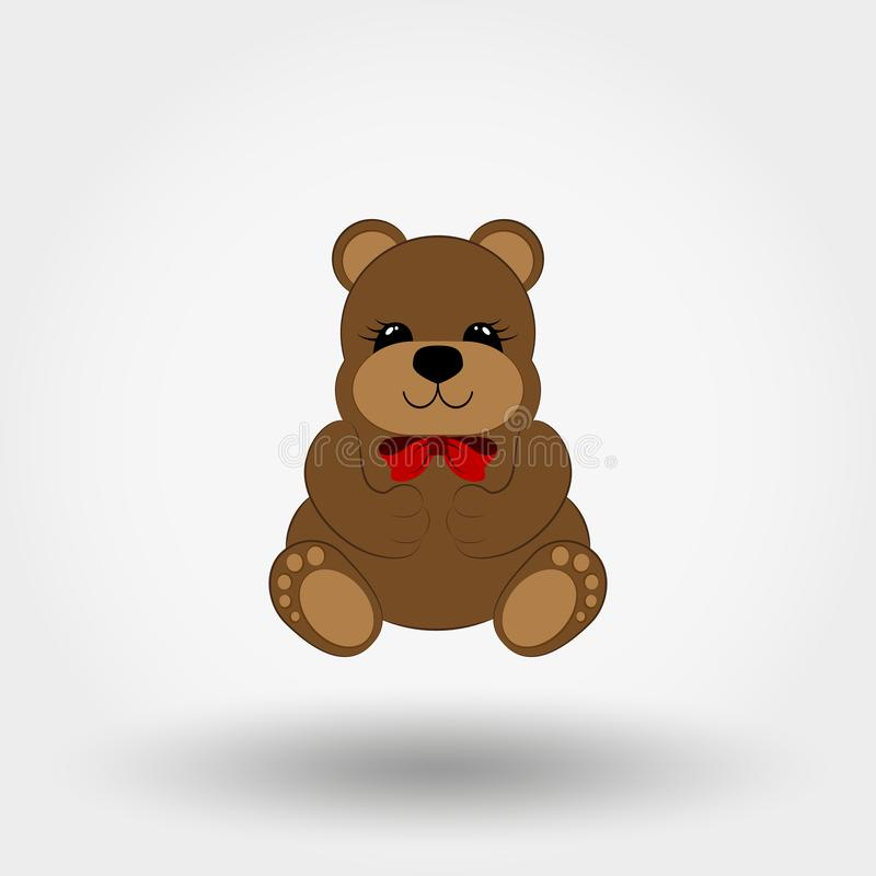 Bambino dell'orsacchiotto con l'arco rosso icona Vettore piano royalty illustrazione gratis