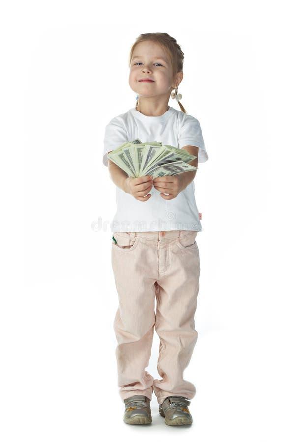 Bambino della bambina con soldi fotografie stock