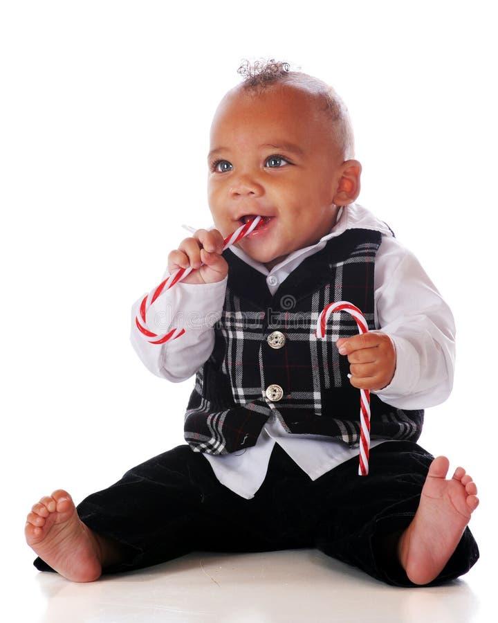 Bambino della canna di caramella immagine stock