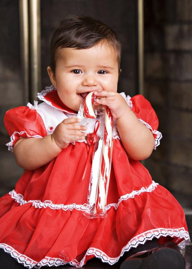 Bambino della canna di caramella immagini stock libere da diritti
