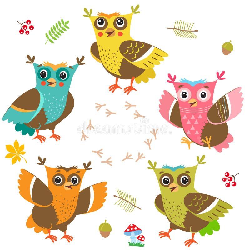 Bambino della giovane civetta Artoon Owl Character Set del ¡ di Ð Tagli il vettore Gufo divertente royalty illustrazione gratis