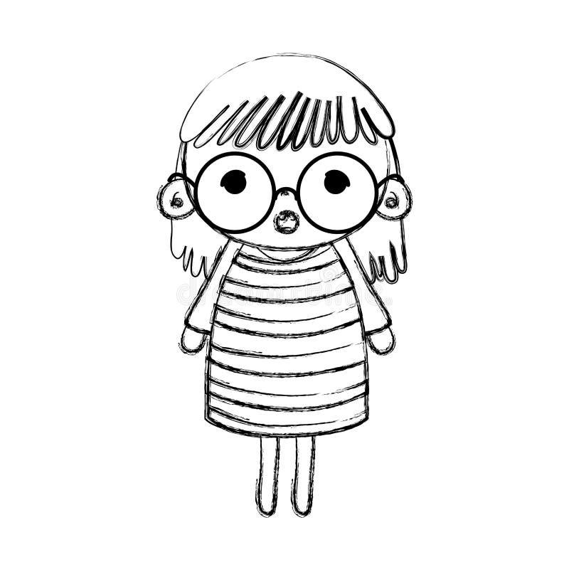 Bambino della ragazza sorpreso lerciume con i vetri ed i capelli royalty illustrazione gratis