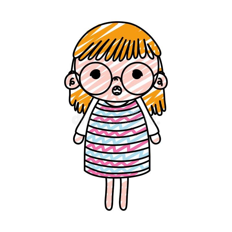 Bambino della ragazza sorpreso scarabocchio con i vetri ed i capelli illustrazione di stock