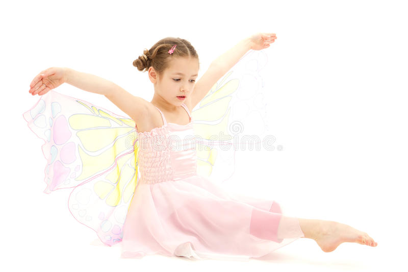 Bambino della ragazza vestito in costume della ballerina della farfalla fotografia stock