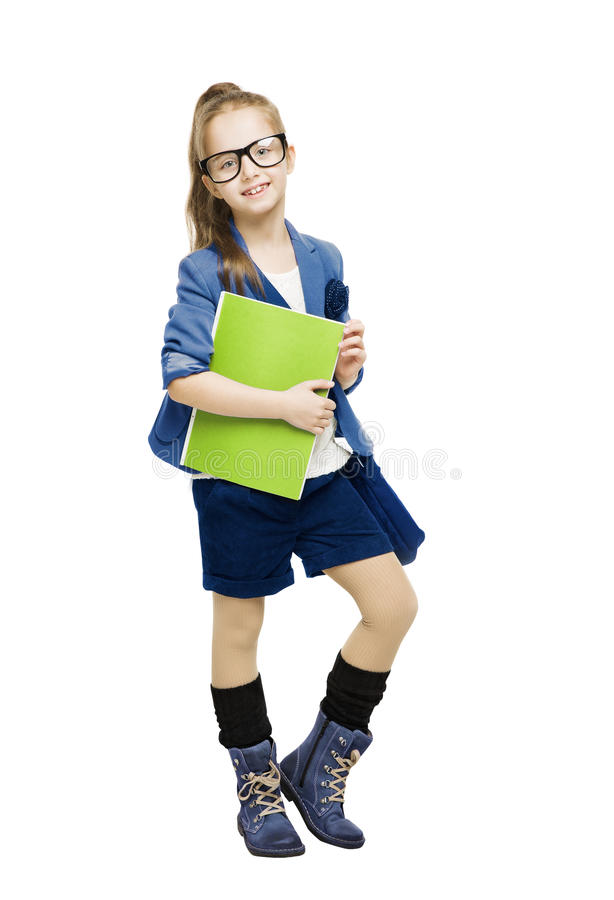 Bambino della scolara in vetri che tengono libro allievo fotografie stock