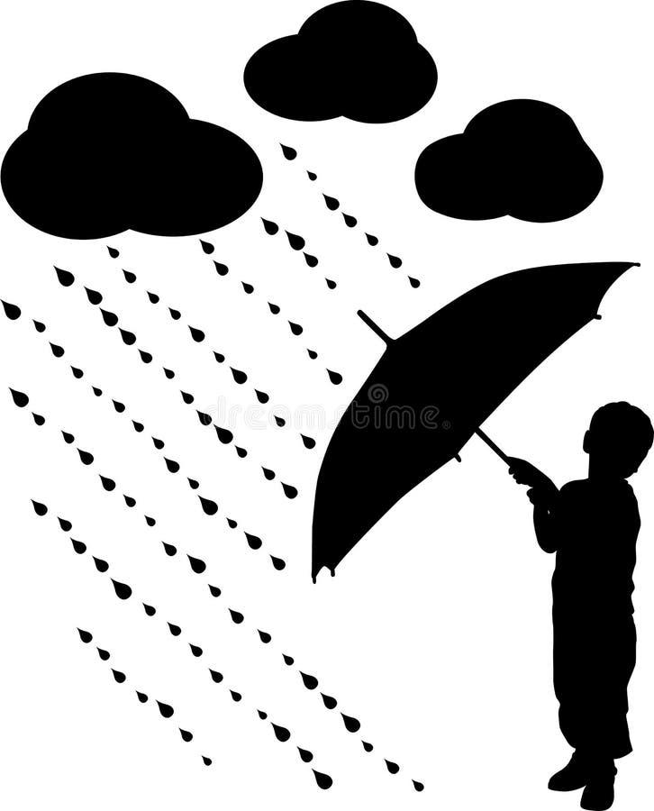 Bambino della siluetta con l'ombrello, vettore illustrazione di stock