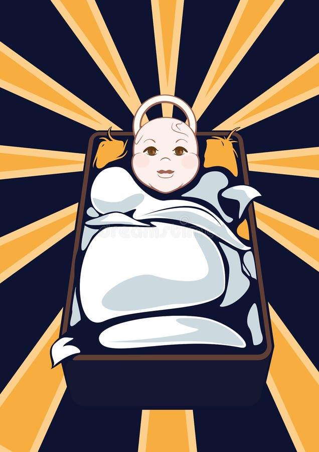 Bambino di Cartooned sulla culla con fondo astratto illustrazione di stock