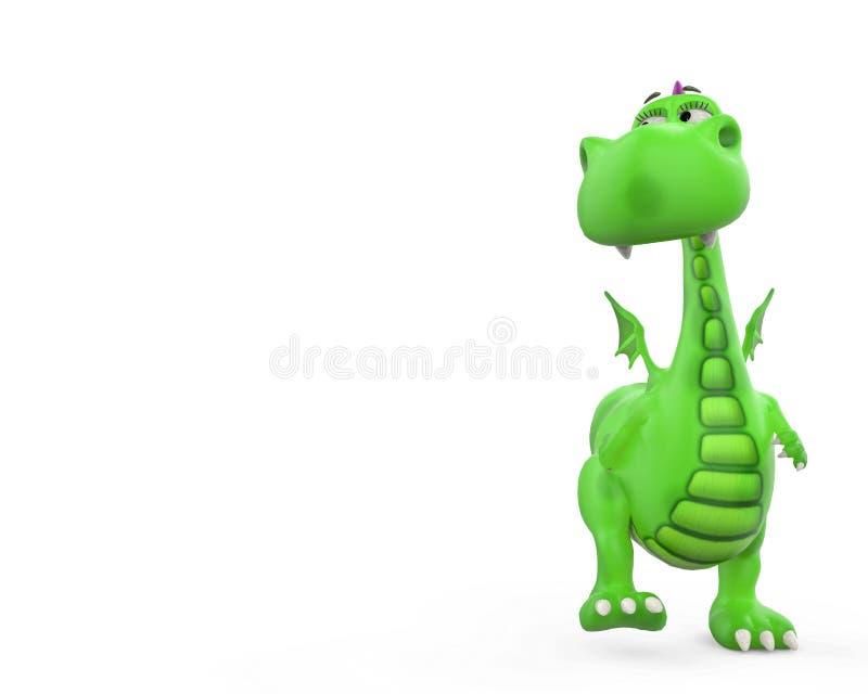 Bambino di Dino il fumetto del drago verde illustrazione di stock