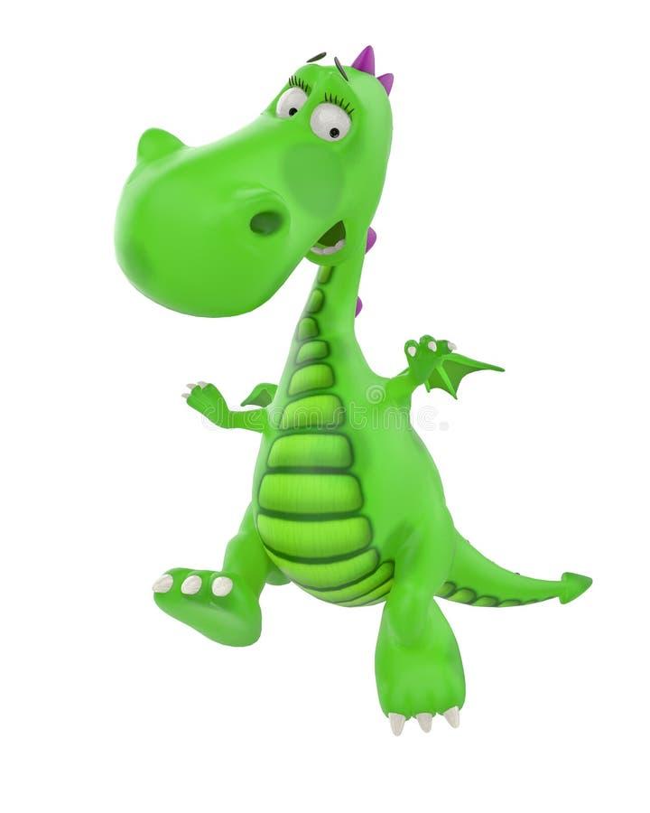 Bambino di Dino il fumetto del drago verde royalty illustrazione gratis