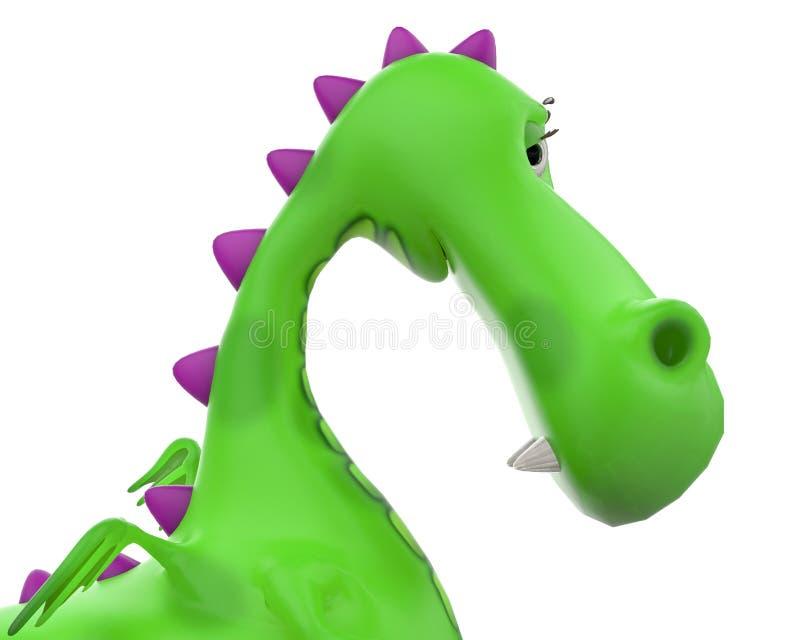Bambino di Dino il fumetto del drago verde illustrazione vettoriale